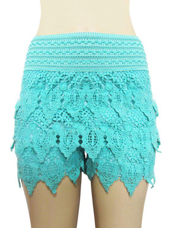 new Solid Color Lace Multi-Layered Shorts - AZURE XL