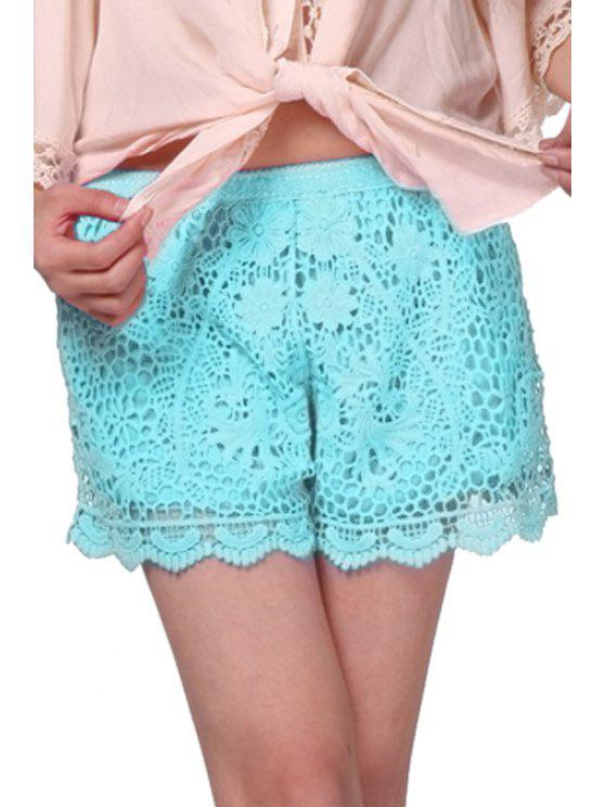 hot Floral Pattern Lace Shorts - GREEN ONE SIZE(FIT SIZE XS TO M)