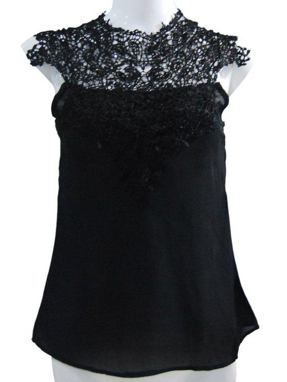 8f309dfe56389f 2018 Stand-Up Collar Lace Splicing Backless Tank Top In BLACK 2XL ...