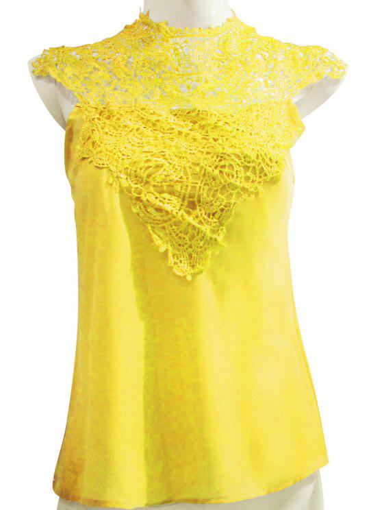 chic Stand-Up Collar Lace Splicing Backless Tank Top - YELLOW M