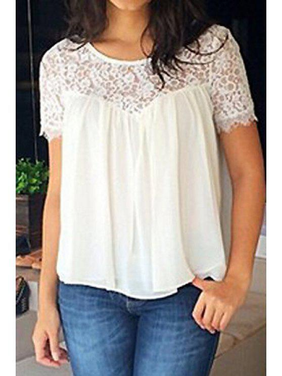trendy Lace Splicing Short Sleeve Blouse - WHITE L
