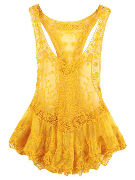 affordable Lace Spliced Crochet Flower Voile Tank Top - YELLOW S