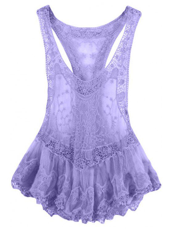 affordable Lace Spliced Crochet Flower Voile Tank Top - PURPLE L