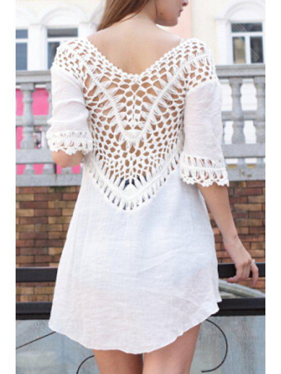 unique V-Neck Solid Color Openwork Half Sleeve Dress - WHITE ONE SIZE(FIT SIZE XS TO M)