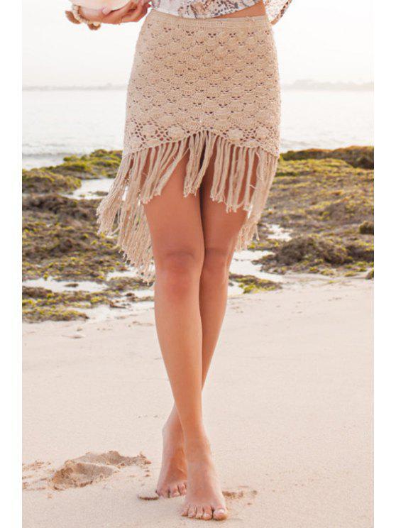 trendy Solid Color Fringe Splicing Skirt - BROWN S