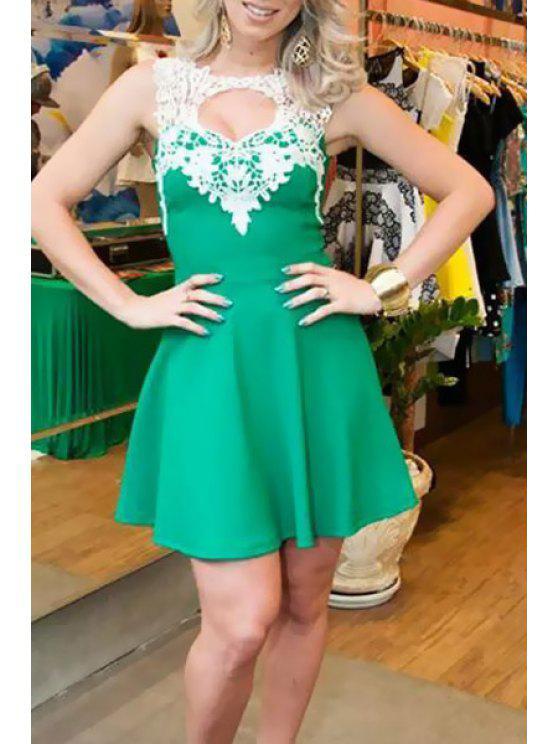 trendy Lace Spliced Crochet Flower Cut Out Club Dress - GREEN S