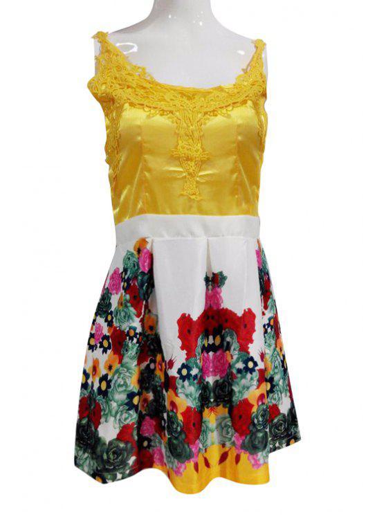women Flower Print Spaghetti Straps Flare Dress - COLORMIX XL
