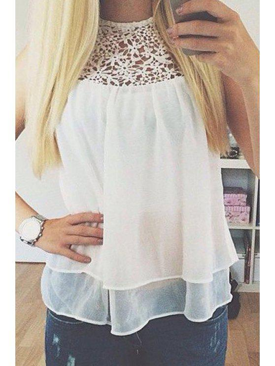 hot Lace Voile Spliced White Chiffon Tank Top - WHITE S