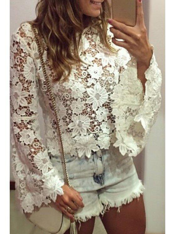 trendy Openwork Floral Pattern Lace Long Sleeve T-Shirt - WHITE S
