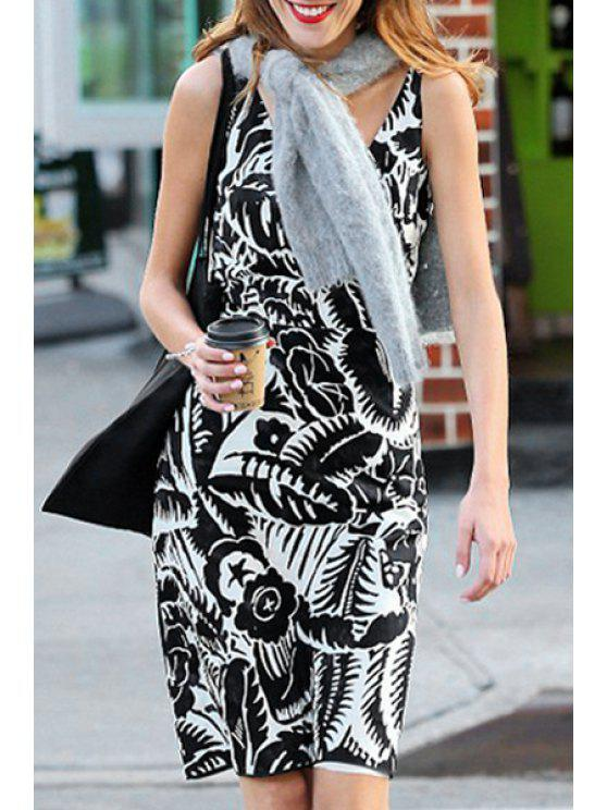 fancy V-Neck Floral Leaves Print Sleeveless Dress - WHITE AND BLACK S