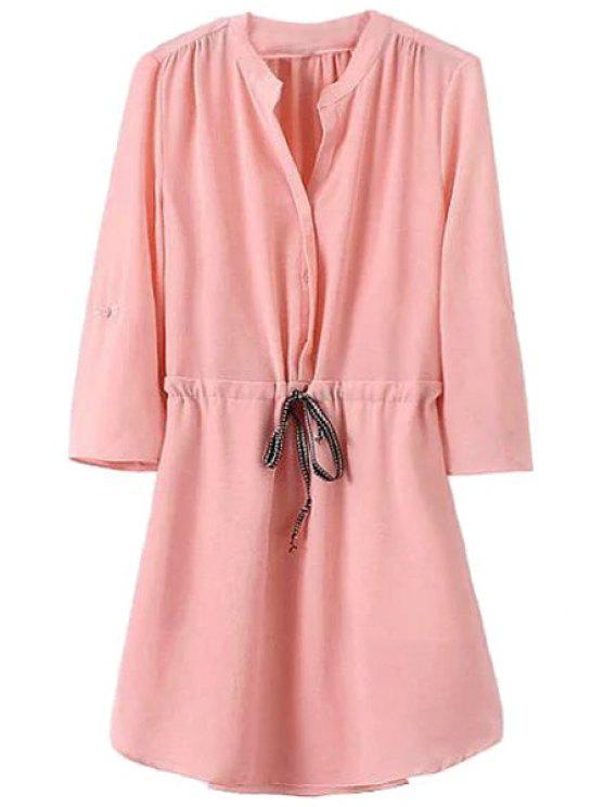 sale Solid Color Tie-Up 3/4 Sleeve Dress - PINK S