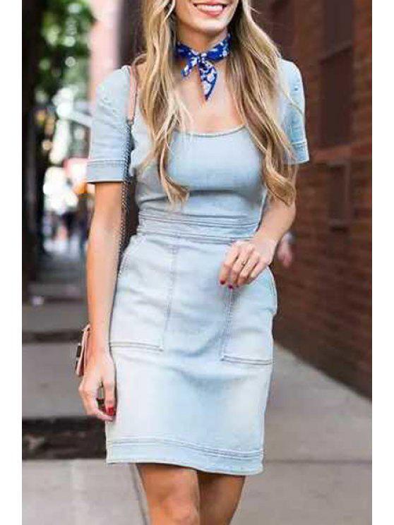 chic Backless Cross Bleach Wash Denim Short Sleeve Dress - LIGHT BLUE S