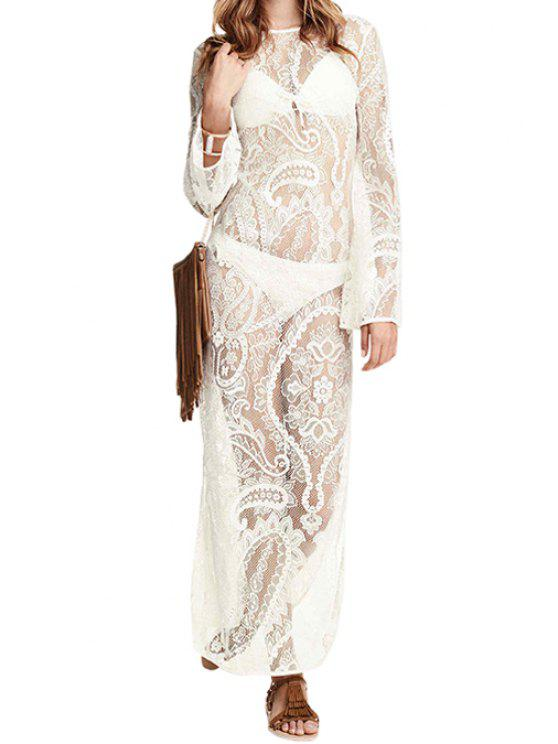 shop See-Through Long Sleeve Lace Maxi Dress - WHITE S