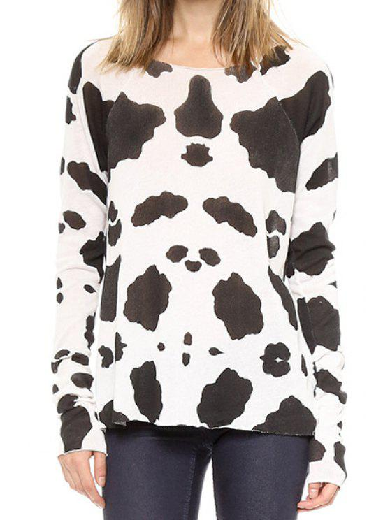 5c47e37f3d Cow Print Scoop Neck Long Sleeve T-Shirt - White And Black Xl