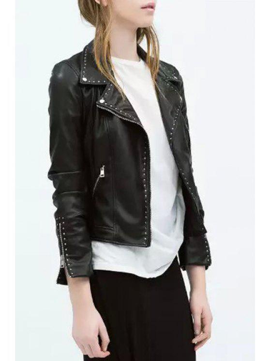 womens Rivet Embellished PU Leather Long Sleeve Jacket - BLACK S