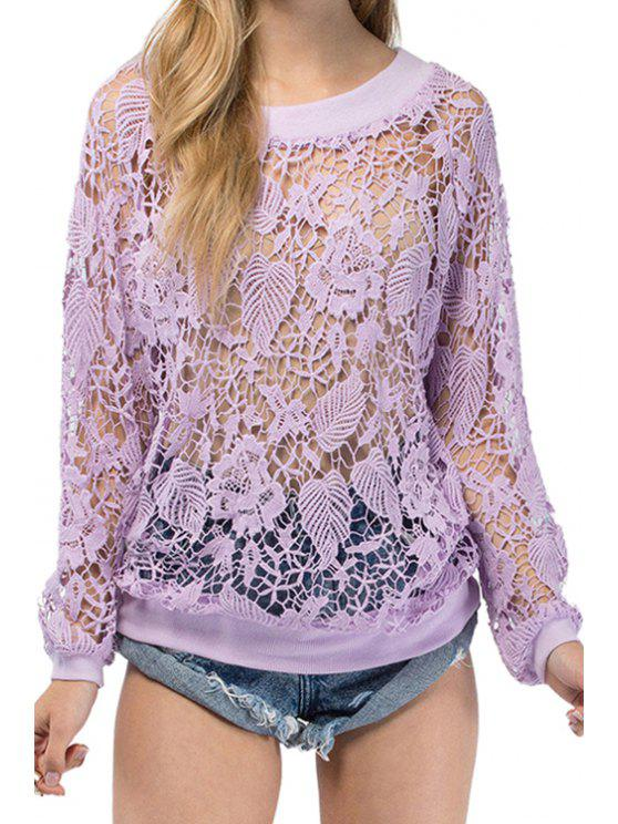 ladies Lace See-Through Long Sleeve Sweatshirt - PURPLE XL
