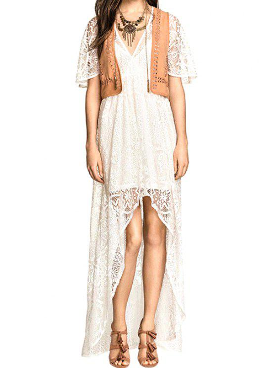 ladies Lace Plunging Neck Short Sleeve Dress - WHITE S