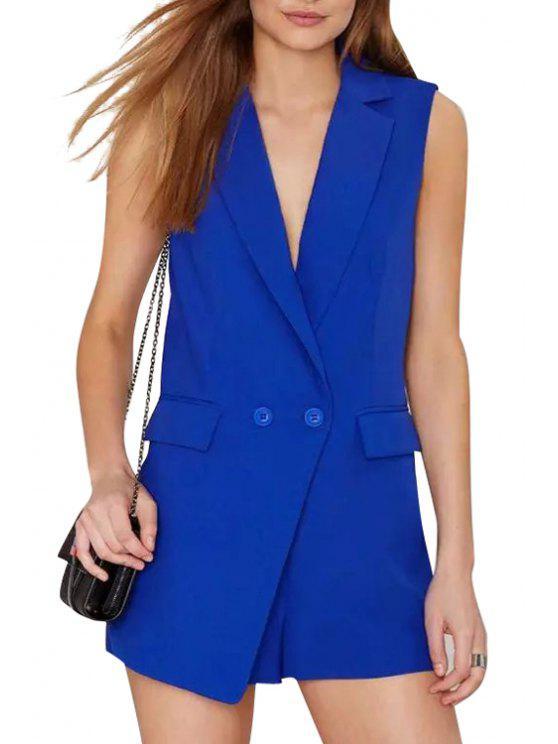 fancy Lapel Solid Color Pocket Sleeveless Romper - BLUE S