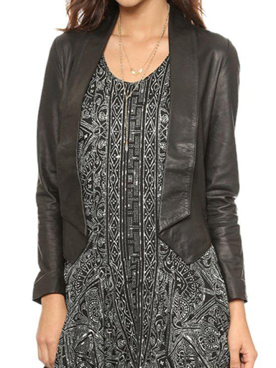 affordable PU Leather Long Sleeve Backless Jacket - BLACK S