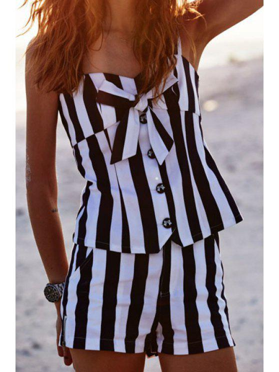 chic Sweetheart Neck Bowknot Embellished Tank Top + Striped Shorts Twinset - WHITE AND BLACK S