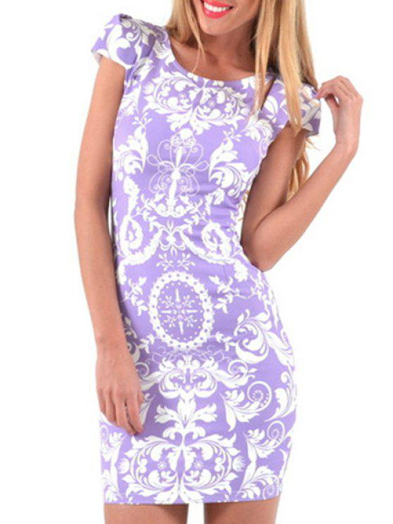 chic White Floral Print  Short Sleeve Dress - WHITE AND PURPLE S