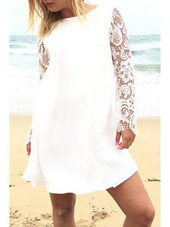 womens Lace Spliced Round Neck Long Sleeves Dress - WHITE XL