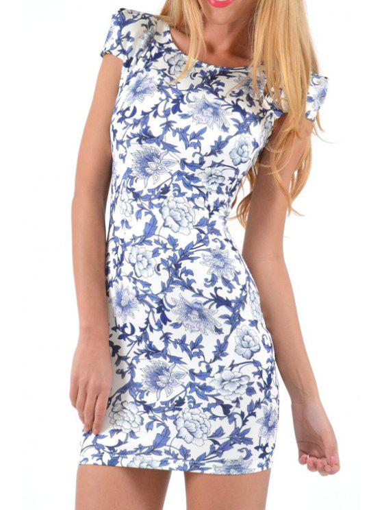 online Floral Print Cut Out Short Sleeve Dress - WHITE AND BLACK S