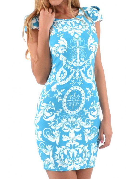 shops Floral Print Hollow Out Short Sleeve Dress - BLUE AND WHITE S