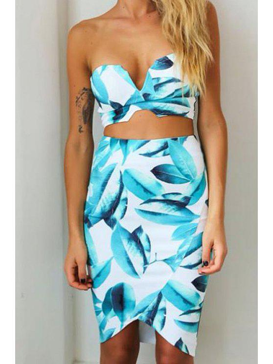 chic Strapless Leaves Print Zipper Tube Top + Asymmetrical Skirt - AS THE PICTURE S