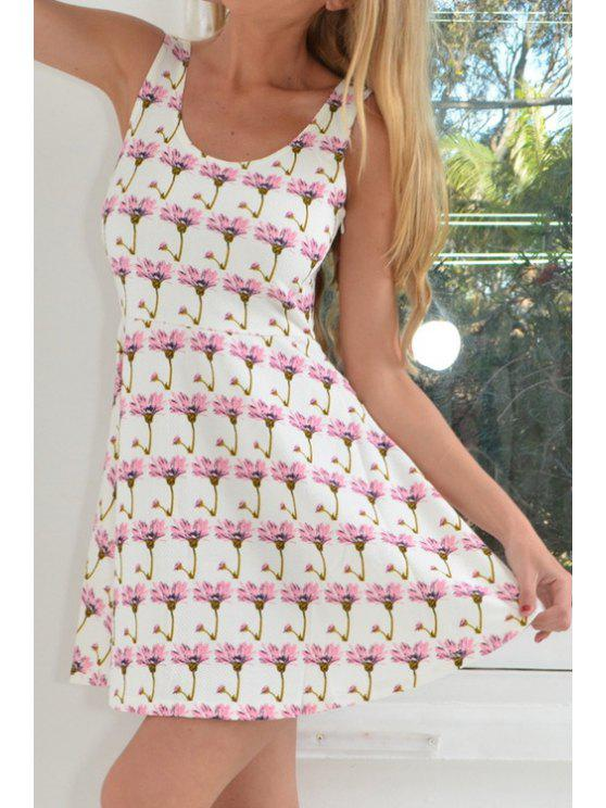 latest Scoop Neck Floral Print A Line Sleeveless Dress - WHITE S