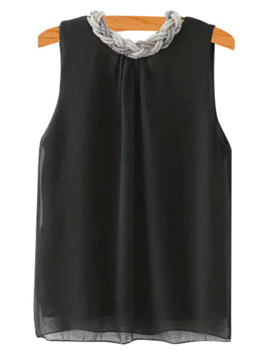 shop Braid Splicing Sleeveless Tank Top - BLACK S