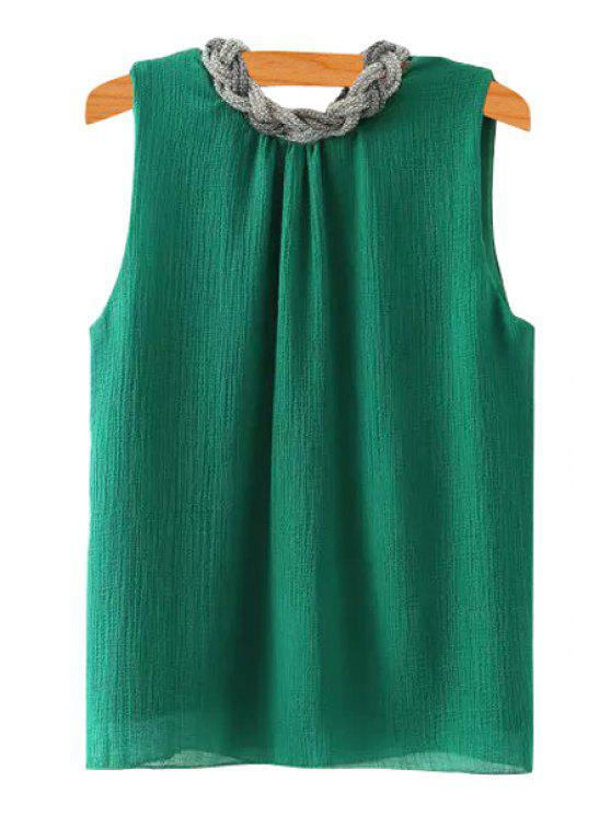 fashion Braid Splicing Sleeveless Tank Top - GREEN S