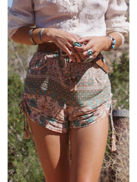 buy Tiny Floral Print Elastic Waist Shorts - COLORMIX S