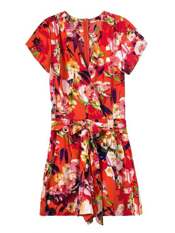 buy Tie-Up Floral Print Short Sleeve Playsuit - RED S