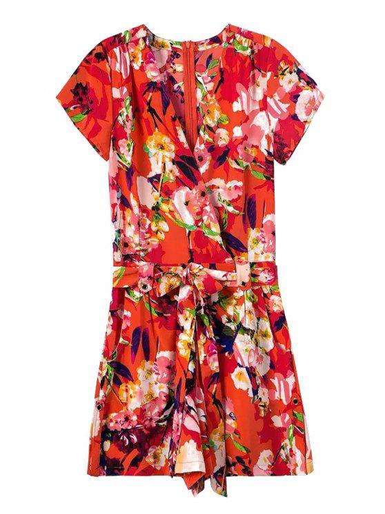 buy Tie-Up Floral Print Short Sleeve Playsuit - RED S