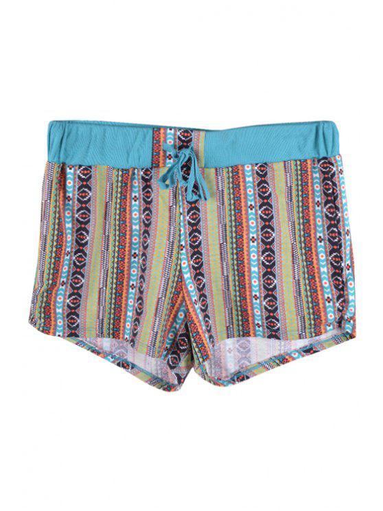 women's Argyle Print Stripe Elastic Waist Shorts - GREEN S