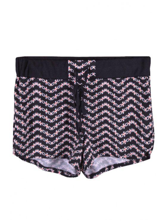 shop Elastic Waist Zig Zag Shorts - BLACK S