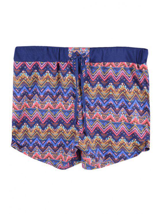 shop Elastic Waist Stripe Shorts - BLUE S