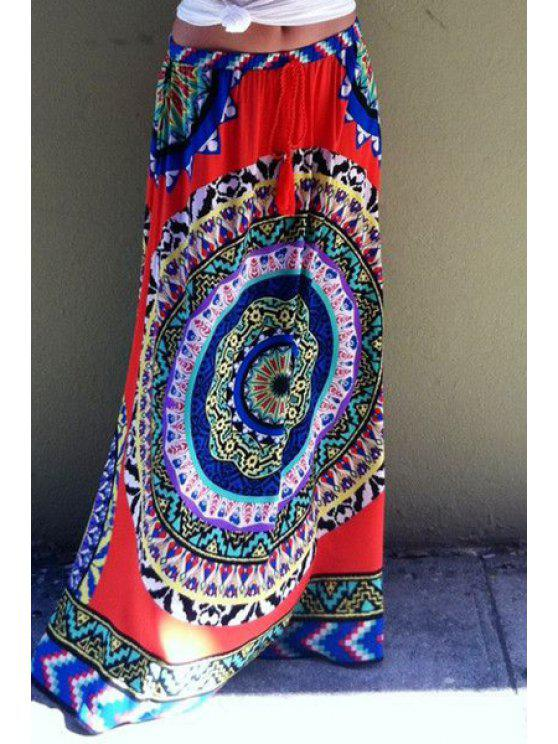 women's Color Block Round Pattern Print Long Skirt - COLORMIX S