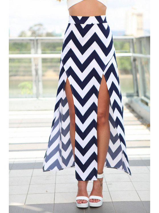 shops Zig Zag Pattern Slit Skirt - CADETBLUE S