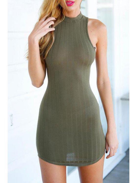 sale Army Green Sleeveless Bodycon Dress - ARMY GREEN S