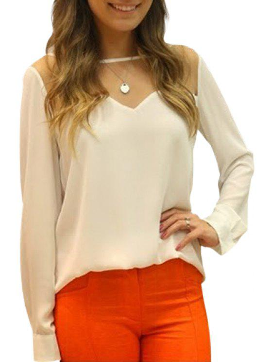 fashion Solid Color Grenadine Spliced Cut Out Chiffon Blouse - WHITE S