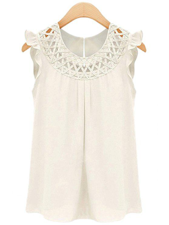 008e9bd01adaa 20% OFF  2019 Round Neck Solid Color Openwork Flounce Chiffon Tank ...