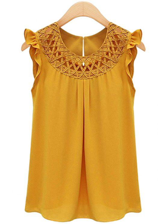ladies Round Neck Solid Color Openwork Flounce Chiffon Tank Top - YELLOW L