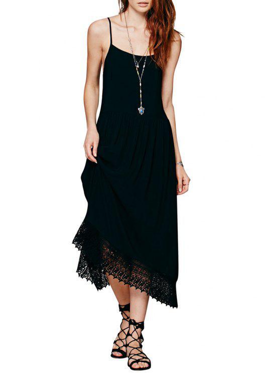lady Lace Splicing Spaghetti Strap Dress - BLACK S