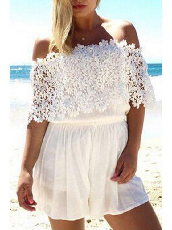 women's Lace Spliced Off The Shoulder Playsuit - WHITE S