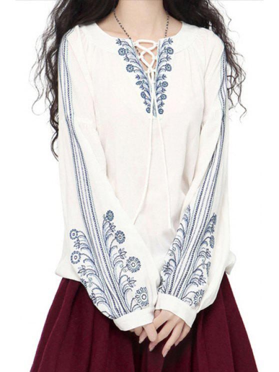 womens Flower Embroidery Long Sleeves Blouse - WHITE ONE SIZE(FIT SIZE XS TO M)