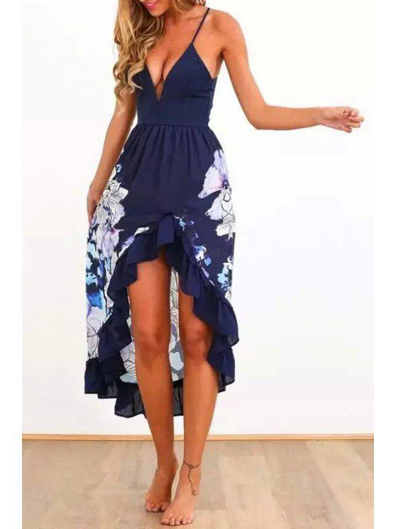 shops Spaghetti Strap Asymmetrical Floral Print Dress - PURPLISH BLUE S