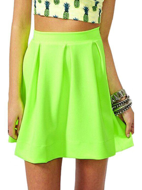 fashion Zipper-Fly Ruffled A-Line Fluorescent Green Skirt - NEON GREEN XL
