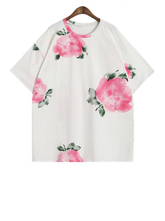 outfits Ink Floral Short Sleeve T-Shirt - ROSE ONE SIZE(FIT SIZE XS TO M)